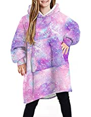 papasgix Kids Oversized Hoodie Blanket Sweatshirt, Super Warm Snuggly Sherpa Flannel with Large Front Pocket, Ultra-Soft Texture Wearable Blanket for Girls Boys