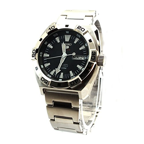 Seiko-5-Sports-Black-Dial-Stainless-Steel-Automatic-Mens-Watch-SRP281