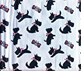 Cozy Cabin 4 Piece Cotton Flannel Full Size Double Bed Sheet Set Black Scotties Dogs Puppies with Red Ribbons on White