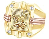 Wishrocks 14K Yellow Gold Over Sterling Silver Cubic Zirconia Eagle Hip Hop Men's Ring