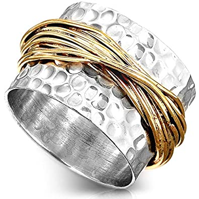 1c15173ec88e9 Boho-Magic 925 Sterling Silver Band Ring for Women with Brass Wrap Wide  Statement Ring