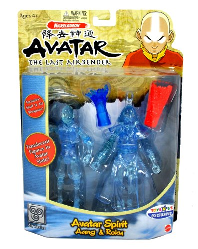 Mattel Year 2006 Nickelodeon Avatar The Last Airbender Air Series Exclusive 2 Pack 6 Inch Tall Action Figure - AVATAR SPIRIT Aang with Spirit Staff and Roku with Water Blast and Fire Blast]()
