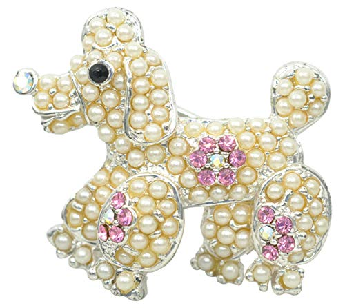 (Gyn&Joy Silvery Plated Pretty Poodle Simulated Pearl Pink Crystal Pin Brooch BZ171)