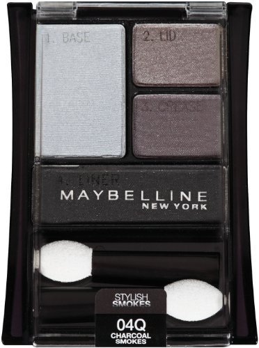 Maybelline Expertwear eyeshadow Quads Stylish Smokes, 04q Charcoal Smokes, 0.17 Ounce (3 Pack)