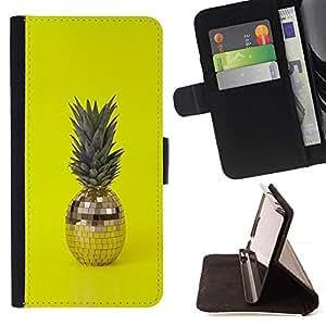 For Sony Xperia Z2 D6502 Case , 420 Weed Piña bola del disco de Amarillo- la tarjeta de Crédito Slots PU Funda de cuero Monedero caso cubierta de piel