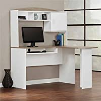 Mainstays L-Shaped Desk with Hutch, Multiple Finishes (White/Sonoma Oak)