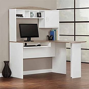 Amazon Com Mainstays L Shaped Desk With Hutch Multiple