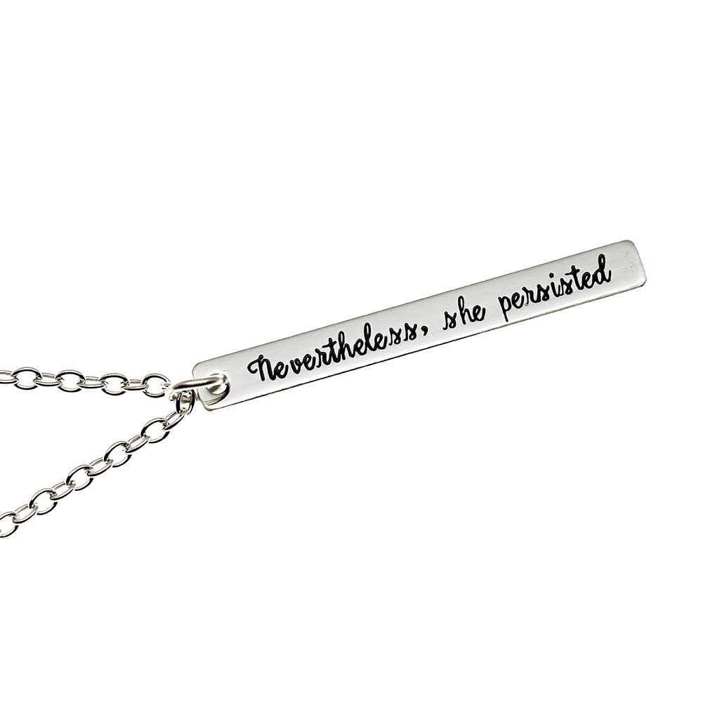 Stainless Steel Womens Pantsuit Nation Solidarity Unity Political Affirmation Keychain. Feminist Inspirational Jewelry Ms Clover Nevertheless She Persisted Necklace