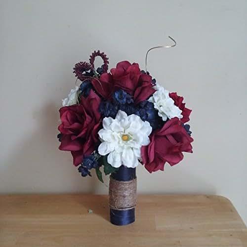 rustic navy blue and burgundy wedding bouquet handmade. Black Bedroom Furniture Sets. Home Design Ideas