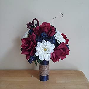 Rustic Navy Blue and Burgundy Wedding Bouquet 14