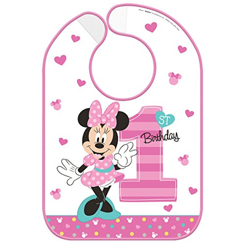 Minnie Mouse 1st Birthday Fun to Be One' Plastic Birthday Bib (1ct)