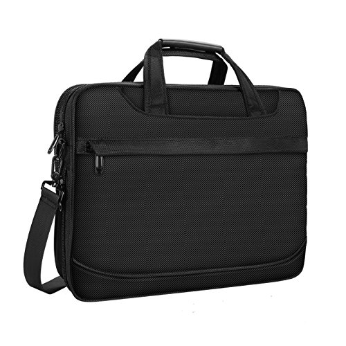 15.6 inch Laptop Bag, Water Resistant Travel Briefcase, 15 inch Expandable Messenger Shoulder Bag with Strap, Carry On Handle Case for Computer/Notebook/Macbook for Business Men - Black (Flap Pocket Briefcase)