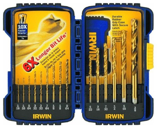 Turbomax Drill Bit Set (2 Pack Irwin 3018009 15-Piece Titanium Turbomax Drill Bit Set with Storage Case (1/16