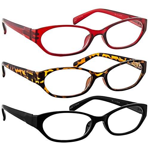 Reading Glasses 1.50 Tortoise Red Black (3 Pack) 9502 TruVision Readers (Oval Sunglasses Reading)