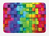 Ambesonne Colorful Bath Mat, Rainbow Colored Contour Display Futuristic Block Brick-Like Geometric Artisan, Plush Bathroom Decor Mat with Non Slip Backing, 29.5 W X 17.5 L Inches, Multicolor