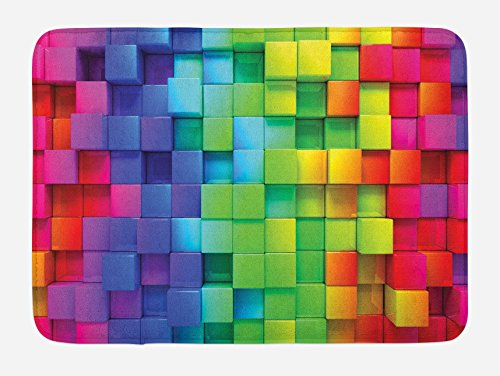 (Ambesonne Colorful Bath Mat, Rainbow Colored Contour Display Futuristic Block Brick-Like Geometric Artisan, Plush Bathroom Decor Mat with Non Slip Backing, 29.5
