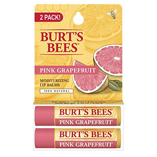 Burt's Bees 100% Natural Moisturizing Lip Balm, Pink Grapefruit, 2 Tubes in Blister Box