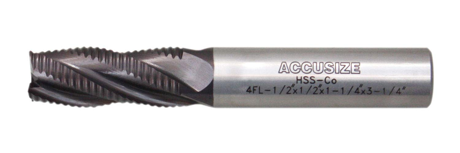 Accusize Industrial Tools Stadard Tooth M42 8% Cobalt Tialn Roughing End Mill, 1/2'' by 1/2'' by 1-1/4'' Flt Length, 1102-0012 by Accusize Industrial Tools