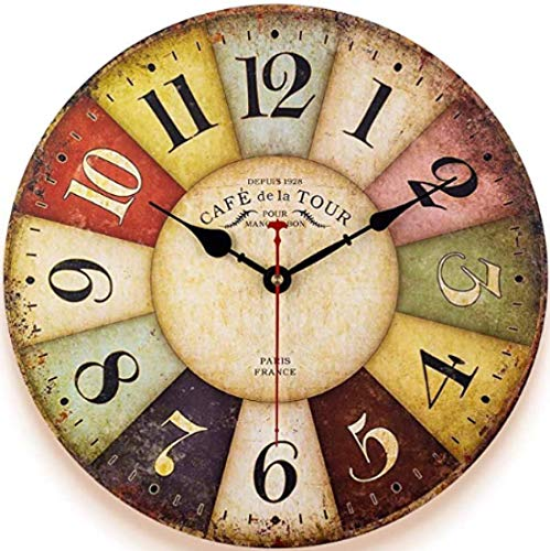 Qukueoy 34cm Thick Wood Kitchen Wall Clock Retro Farmhouse Clocks for Living Room Decor Bedroom Restaurant,Silent Battery Operated,Colorful Tuscan Country Style