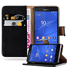 Cadorabo – Luxury Book Style Wallet Design Case for Sony Xperia Z3 COMPACT / MINI with 2 Card Slots and Stand Function - Etui Case Cover Protection Pouch in GRAPHITE-BLACK