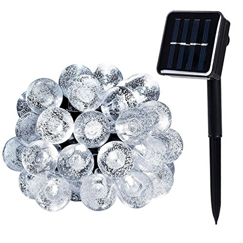 WishWorld Solar String Lights, 21ft 30LEDs Waterproof Fairy Globe Lights Decorative Lighting for Garden, Outdoor, Patio, Lawn and Holiday Decorations(Cool (Outside Decorating Ideas)
