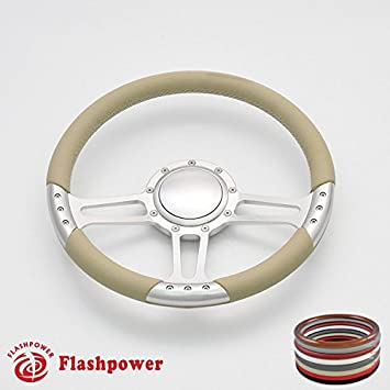 Flashpower 14 Trinity Billet Full Wrap 9 Bolts Steering Wheel with 2 Dish and Horn Button White