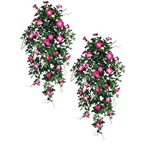 "TWO 40"" Morning Glory Artificial Hanging Flower Bushes, with No Pot, 54"