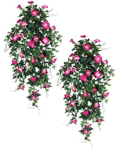 Two 40 Quot Morning Glory Artificial Hanging Flower Bushes
