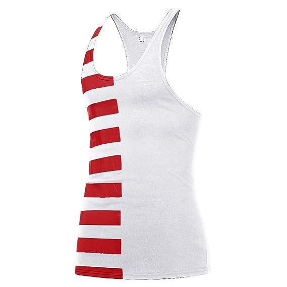 Amazon.com: YKARITIANNA Mens New Summer Tele-Fitness Vest Cotton Printed Striped Blouse Top