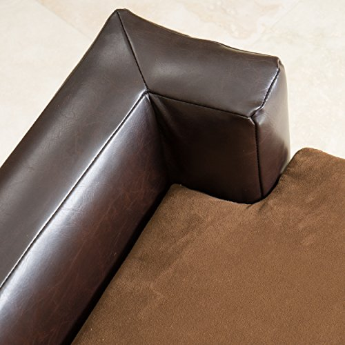 On Sale Rover Large Chocolate Brown Leather Pet Sofa Bed