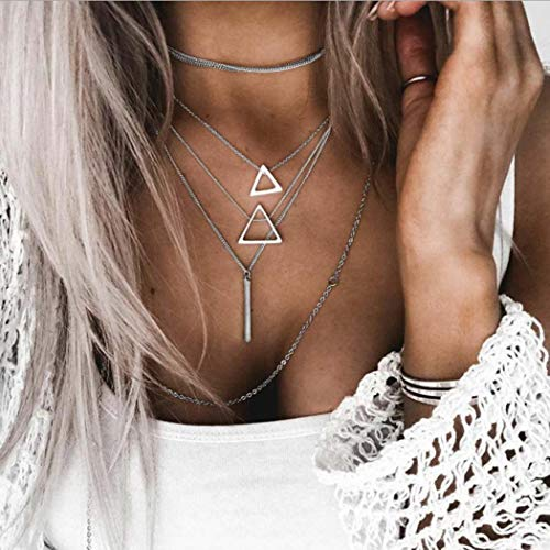 (Fstrend Gypsy Layered Necklace Dainty Triangle Chain Pendant Sandbeach Necklaces Jewelry for Women and Girls(Silver))
