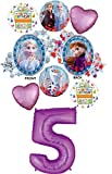 Frozen 2 Party Supplies 5th Birthday Elsa, Anna and Olaf Balloon Bouquet Decorations - Purple Number 5