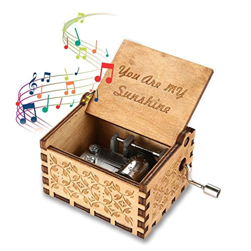 Engraved Wooden Music Box, Mechanism Antique Carved Theme Music Box You are My Sunshine Hand Crank Music Box Crafts Best Gifts, Toys