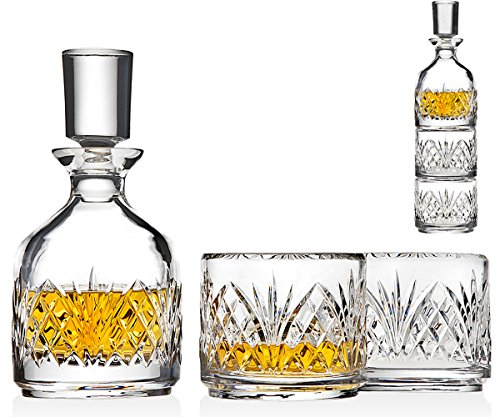 Godinger Stackable Whiskey Decanter and Whisky Glasses Dublin 3 pc set, for Liquor Scotch Bourbon or Wine by Godinger