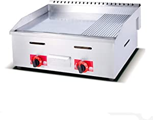 LKZAIY Commercial Countertop Griddle Petroleum Tabletop Half Flat&Half Grooved Grill with Temperature Control&Stainless Steel,Restaurant Equipment for Barbecue&Teppanyaki