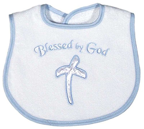 Raindrops Blessed by God Appliqued Bib, Blue