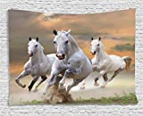 Ambesonne Animal Decor Tapestry, Stallion Horses Running on a Mystical Sky Background Equestrian Male Champions Print, Wall Hanging for Bedroom Living Room Dorm, 60 W X 40 L, White and Orange