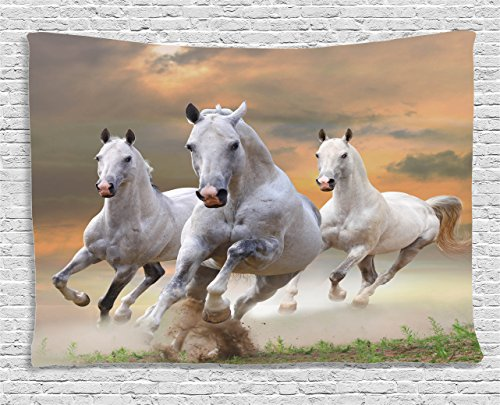 Ambesonne Animal Decor Tapestry, Stallion Horses Running on a Mystical Sky Background Equestrian Male Champions Print, Wall Hanging for Bedroom Living Room Dorm, 60 W X 40 L, White and Orange by Ambesonne