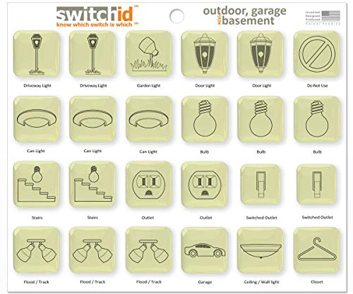 SwitchID Outdoor, Garage & Basement Switch Label and Decal Identifiers, 2D Design - Glow in the Dark