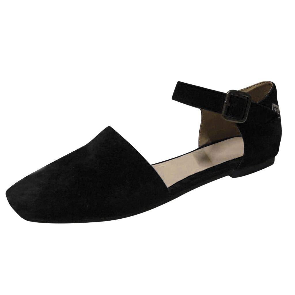 2019 New Women's Solid Dance Shoes Square Toe Flats Ankle Straps Sandals Elegant Outdoor Casual Single Dance Shoes Plus Size (Black, US:9)