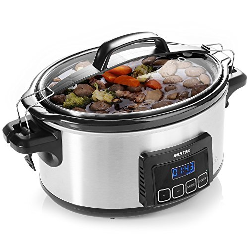 Slow Cooker, BESTEK 6 Quart Slow Cookers Programmable Digital Timer, Oval Pot with Latch Lock Lid and Stainless Steel Finish Review