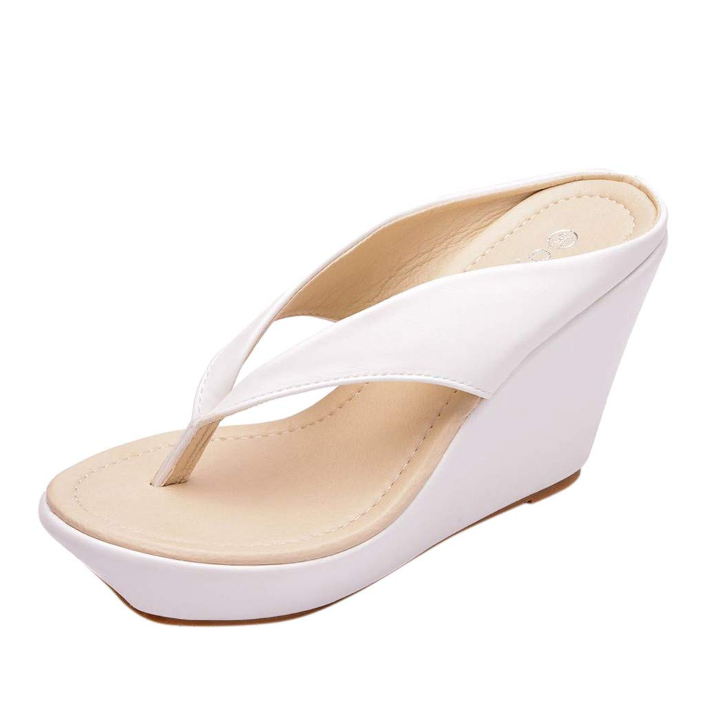 SSYongxia❤ Girl Women's Fashion Wedge Sandal - Beach Summer Casual Flip Flop Sandals Indoor Outdoor Slippers Shoe White