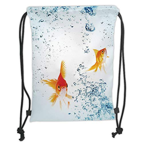 Custom Printed Drawstring Sack Backpacks Bags,Aquarium,Under the Aquarium Theme Cute Swimming Goldfishes with Vivid Bubbles Image,Blue Orange Yellow Soft Satin,5 Liter Capacity,Adjustable String Closu