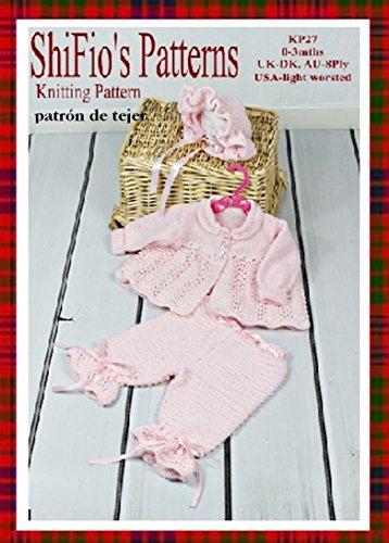 patrón para dos agujas - KP27 - chaqueta matinée, pantalones y sombrero para bebé 0