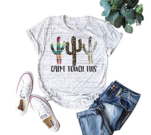 Women's Funny Cactus Graphic T-Shirts Can't Touch This Short Sleeve Summer Tops (S, White)
