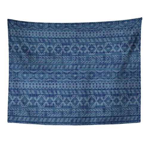 TOMPOP Tapestry Blue Ethnic Indigo Doodle Tribal Geometric Ornamental Pattern Abstract Home Decor Wall Hanging for Living Room Bedroom Dorm 60x80 Inches
