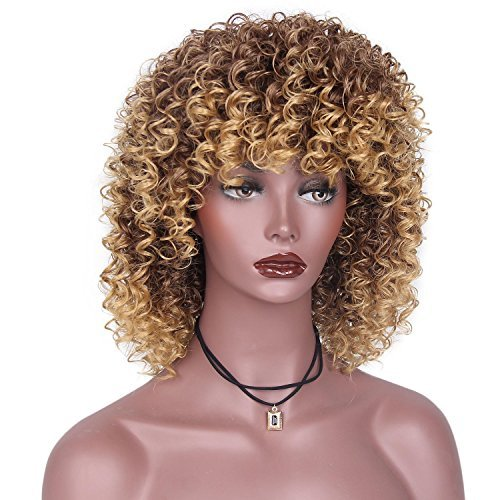 Beauty : ForQueens Afro Wigs For Black Women Brown Mixed Blonde Kinky Curly Full Wigs Synthetic Heat Resistant Wigs For African Women