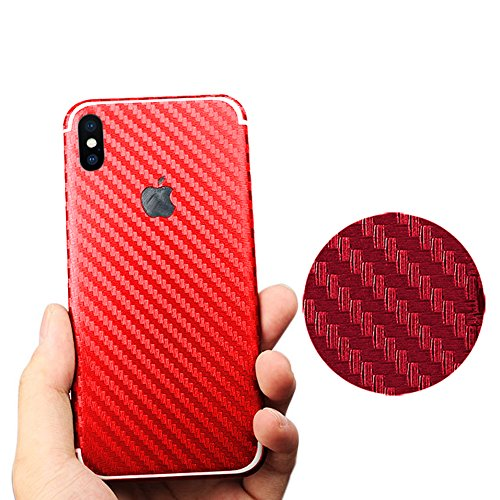 Pegatina para iPhone X, Toeoe Luxury 3D textura de fibra de carbono calcomanía con una carcasa transparente para iPhone X (para iPhone X, Negro) Rojo
