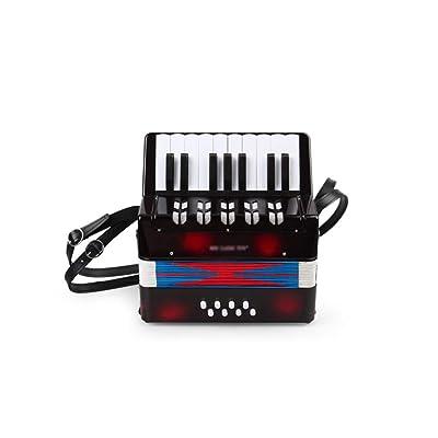 LINGLING-Piano Acordeón Infantil Juguete Musical Rompecabezas Aprendizaje temprano Música Iluminación Juguete Niño Niña Grande Rojo Negro Acordeón (Color : Negro): Hogar