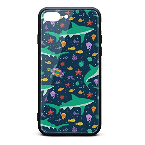 Marine Life Whale Shark Phone Case for iPhone 7Plus/8Plus TPU Gel Full Protective Stylish Anti-Scratch Fashionable Glossy Anti Slip Thin Shockproof Soft Case